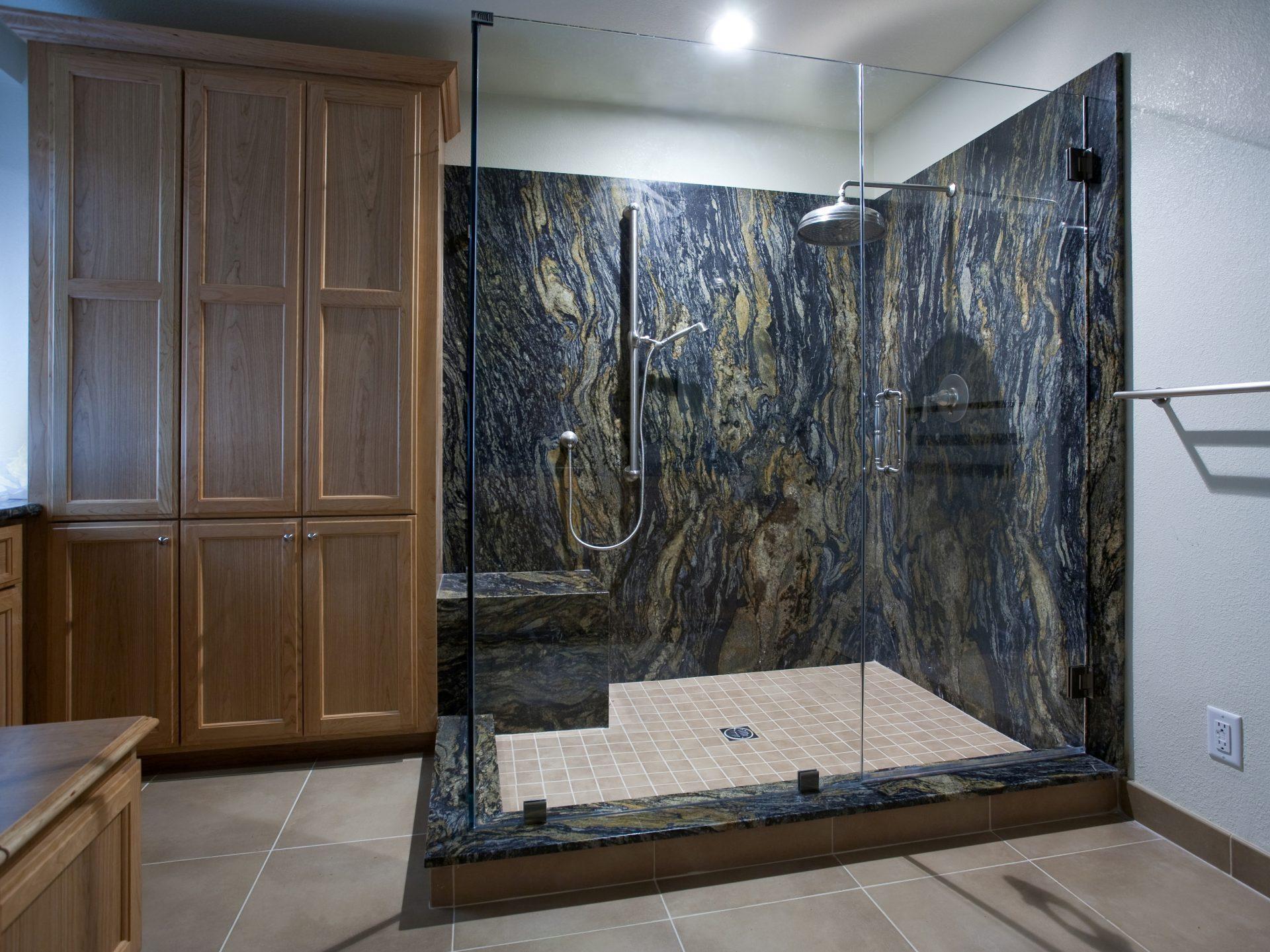 San Jose Master Bathroom Shower Custom Cabinetry W Qc Cropped
