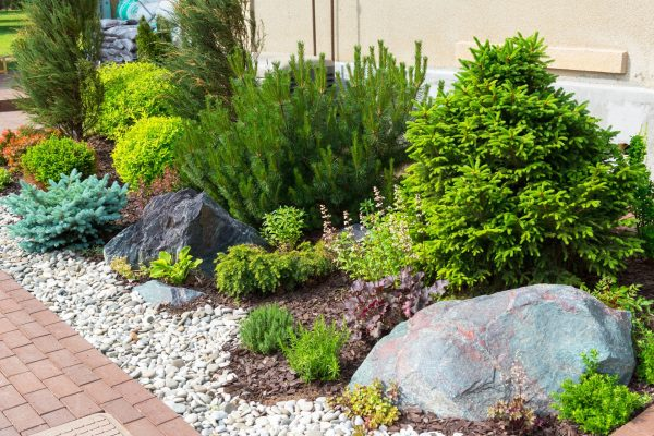 29673135 - natural stone landscaping in home garden